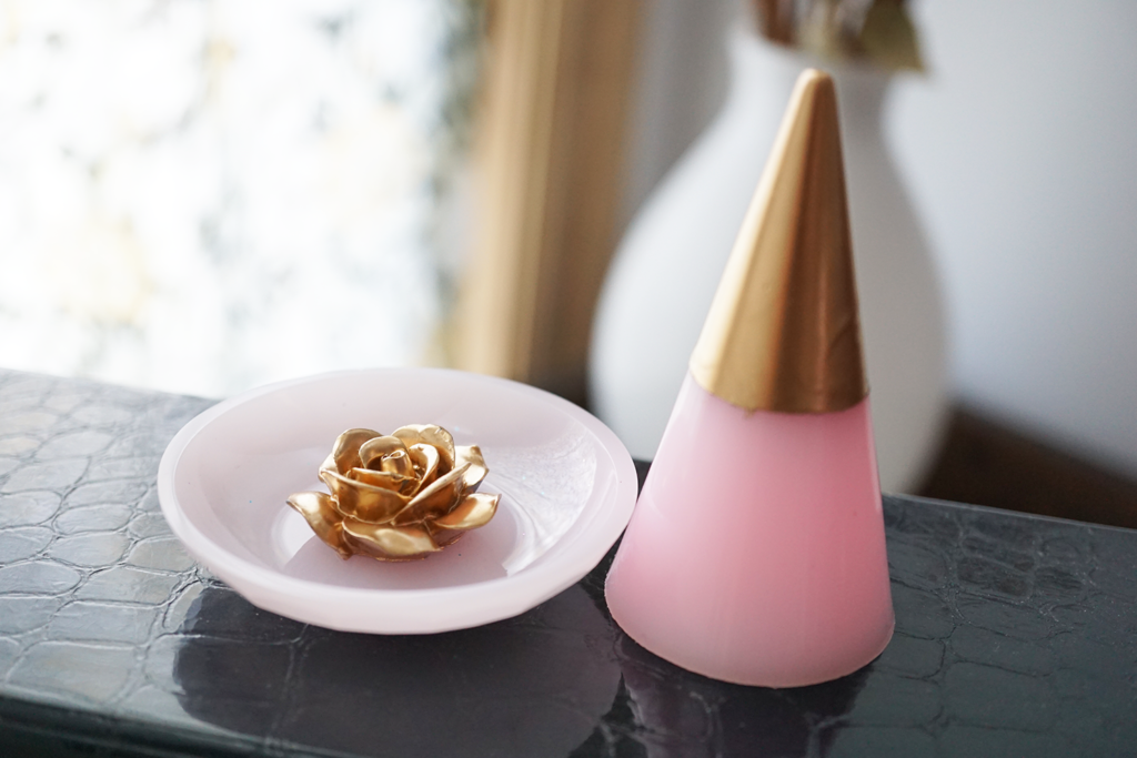 gold rose and dipped ring cone set