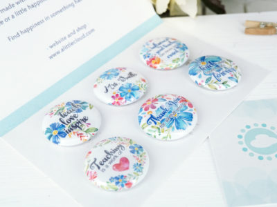 blue floral personalized teacher magnet set