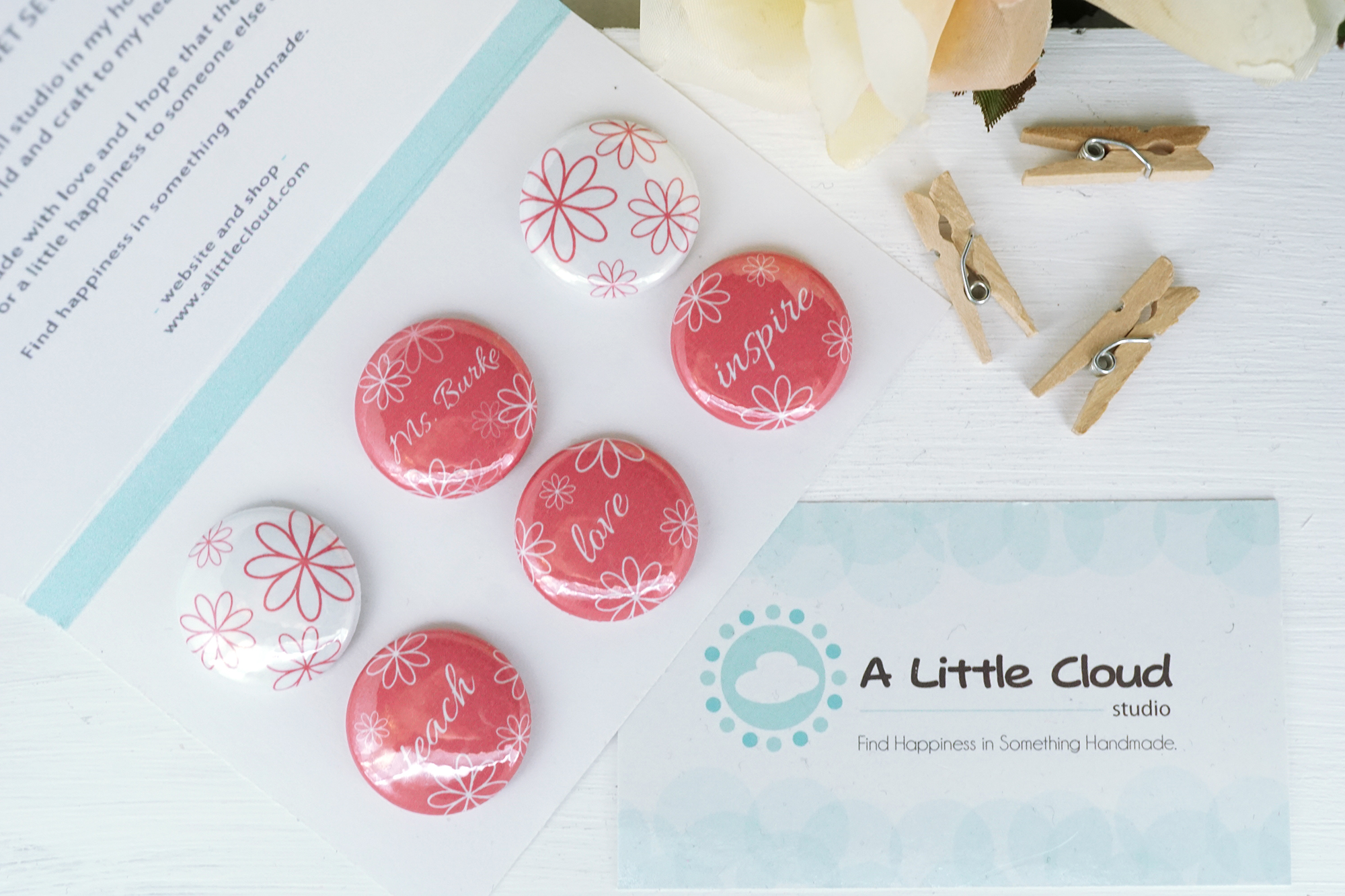 custom and personalized teacher magnet set in floral