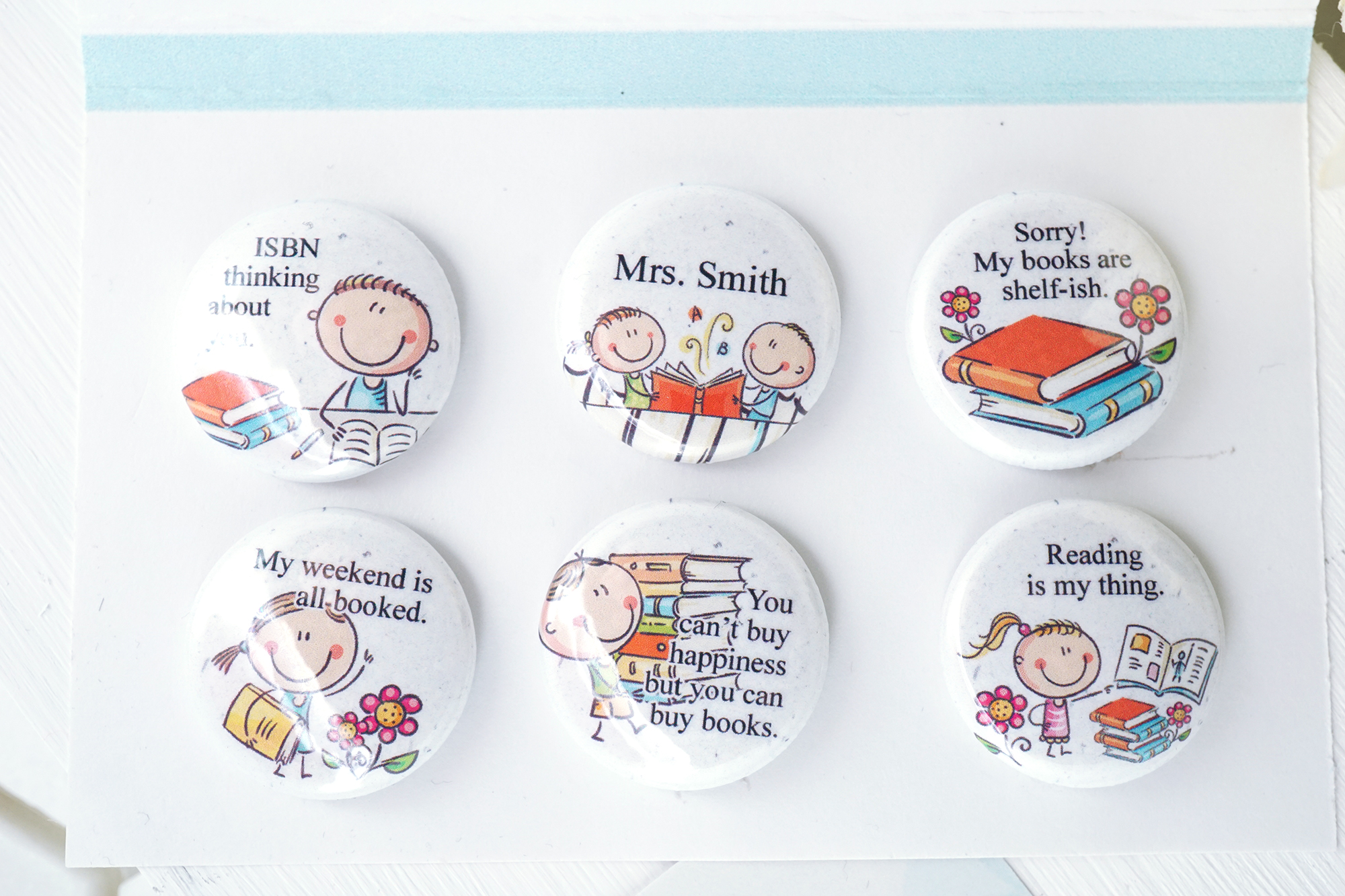 Personalized love books teacher magnet set