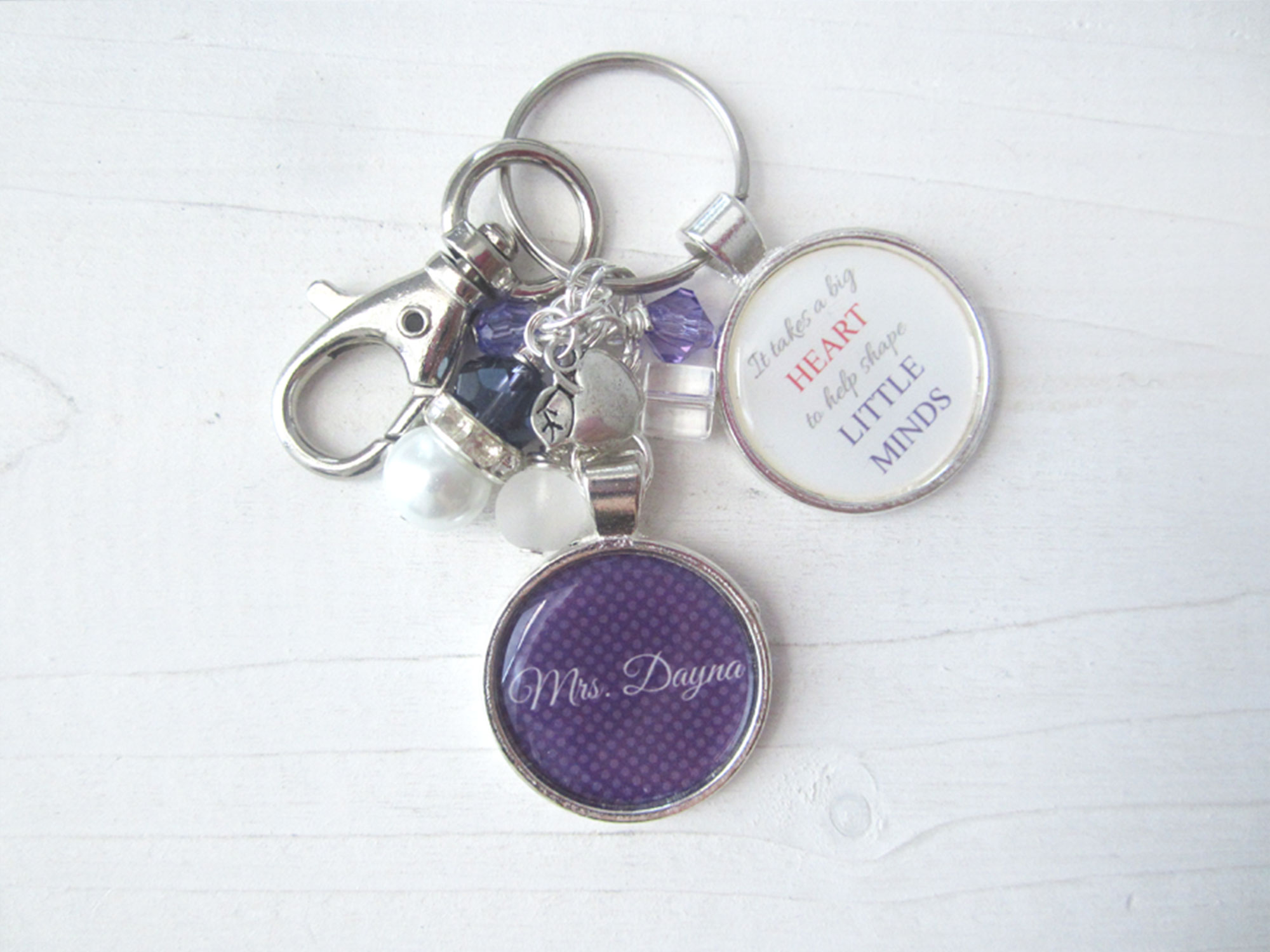 Custom and personalized teacher keychain with quote