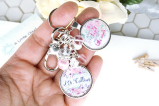 Personalized and custom teacher keychain in pink floral