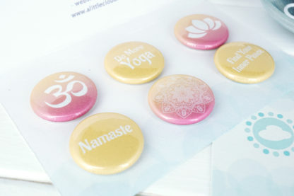 yellow and pink ombre yoga magnet button gift set