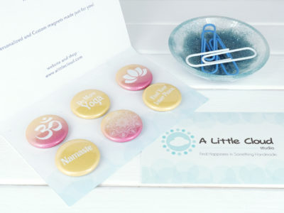 Bright and Energetic yoga button magnet gift set