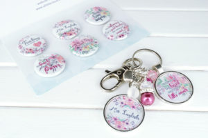 custom teacher floral gift magnet and keychain set