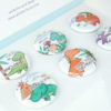 Cute dinosuar Puns button magnet set