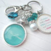 Personalized and custom teacher keychain in teal