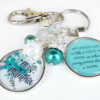 personlized teacher keychain in teal floral